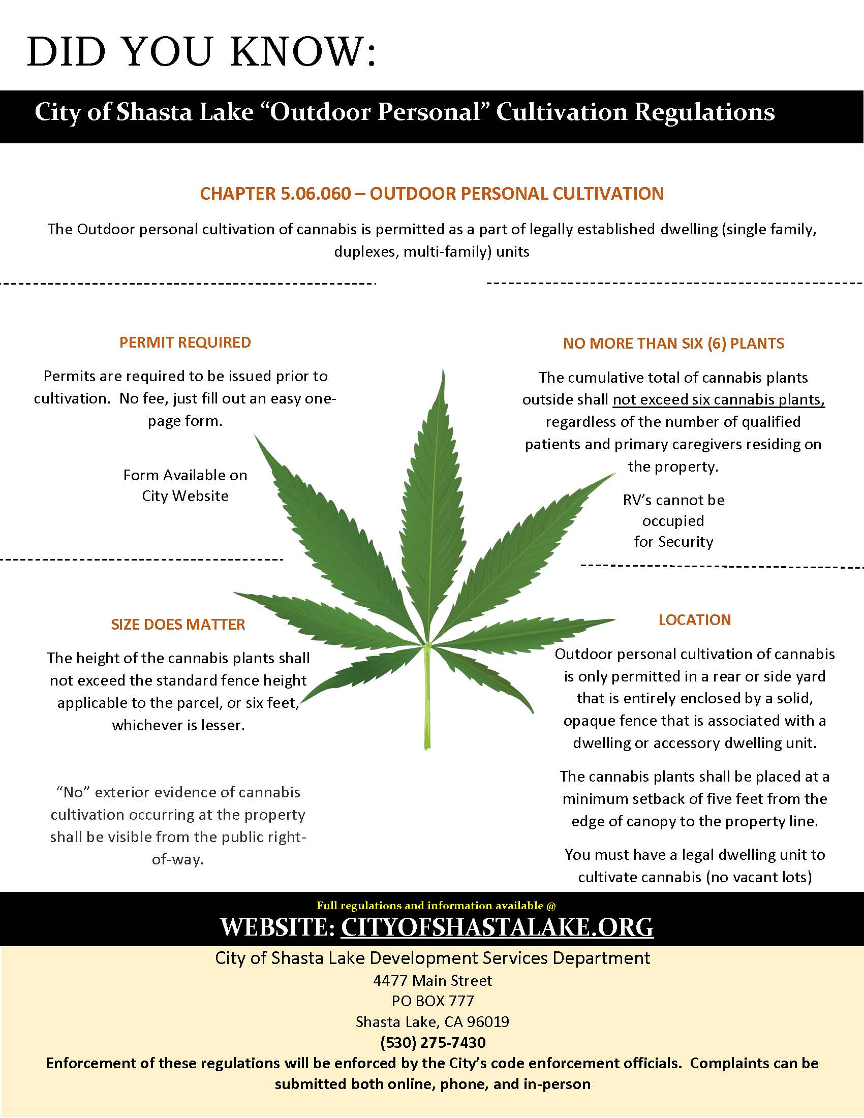 Outdoor Personal Cannabis Flyer