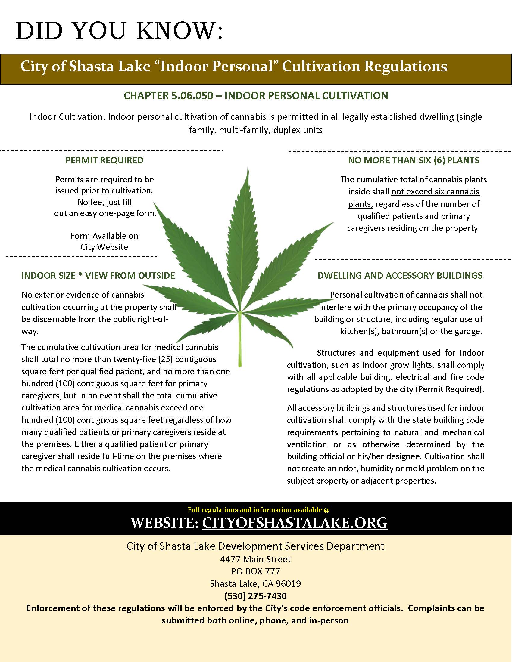 Indoor Personal Cannabis Flyer