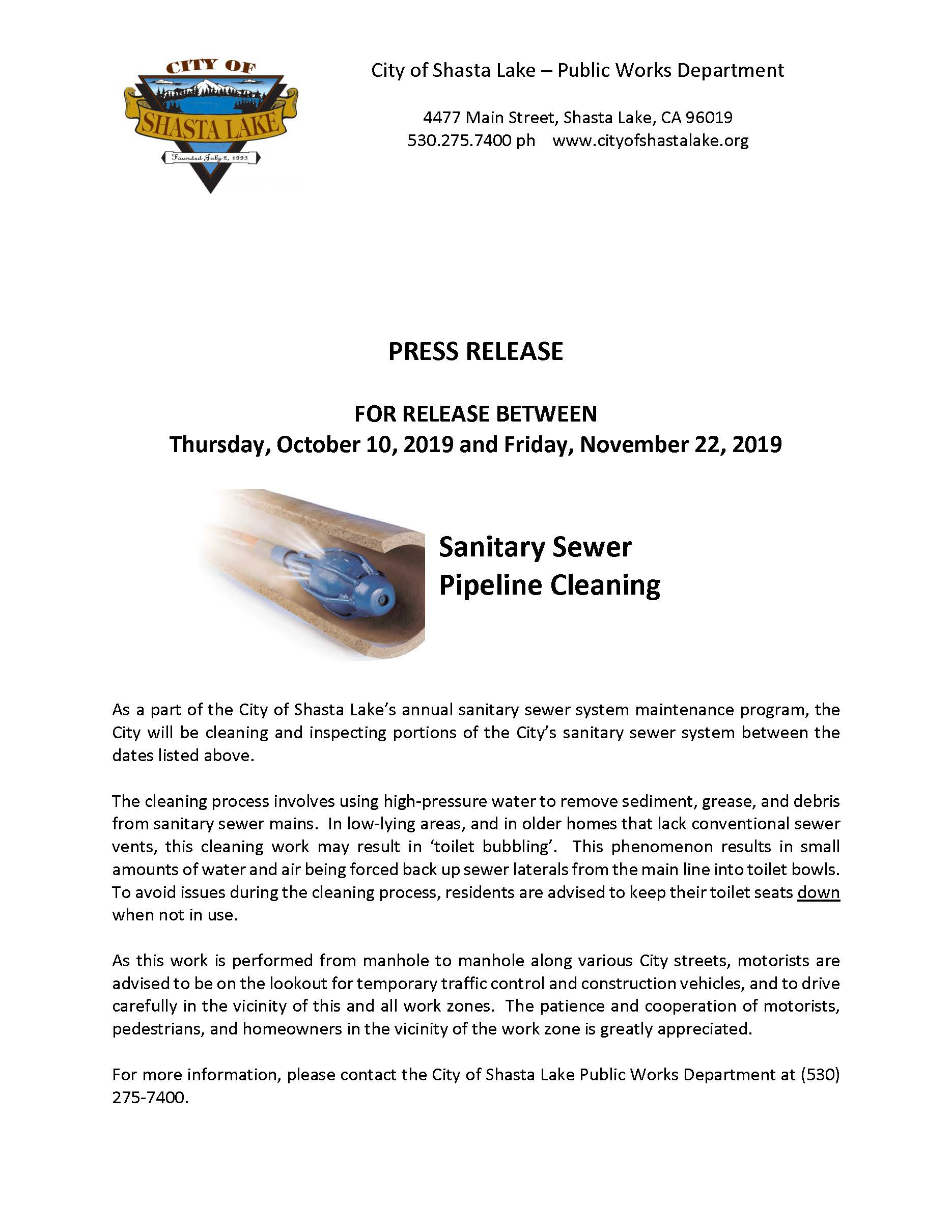 Press Release - Pipeline Cleaning 10-10-19 (003)