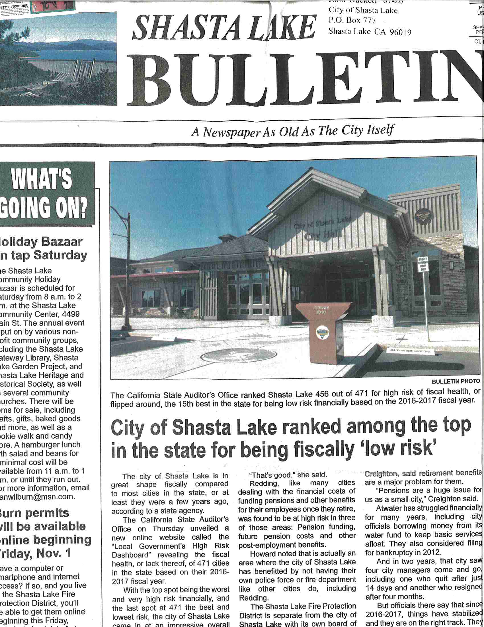 Shasta Lake Bulletin October 30, 2019 Article