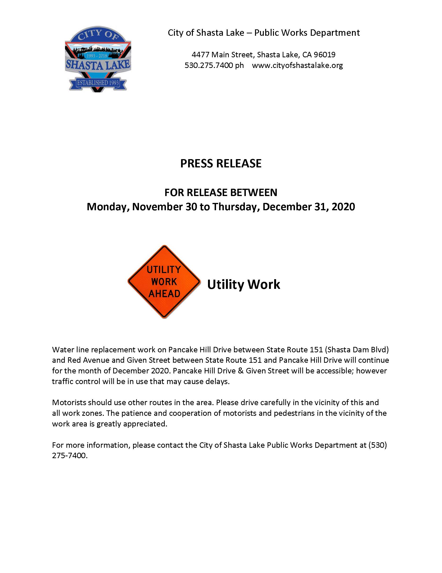 Press Release 1 - Work on Pancake Hill  Given St_