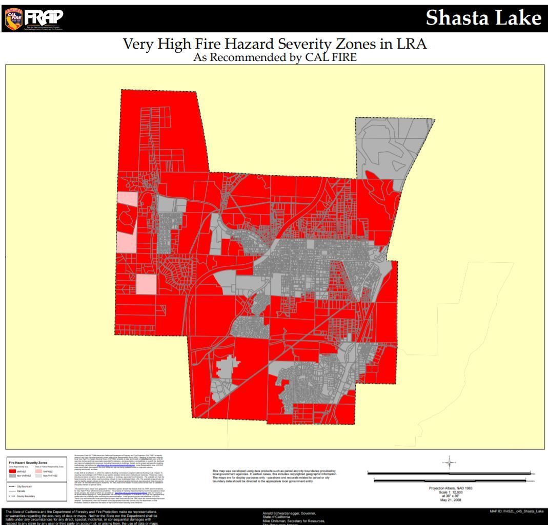 Cal Fire Fire Hazard Map_Shasta Lake